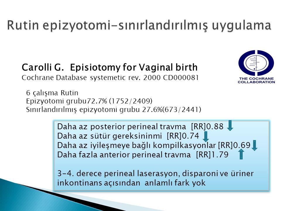 Carolli G.Episiotomy for Vaginal birth Cochrane Database systemetic rev.