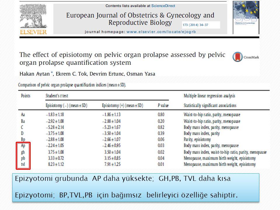 Epizyotomi grubunda AP daha yüksekte; GH,PB, TVL daha kısa Epizyotomi; BP,TVL,PB için bağımsız belirleyici özelliğe sahiptir.
