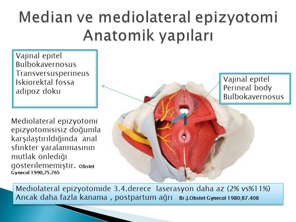 Vajinal epitel Perineal body Bulbokavernosus Vajinal epitel Bulbokavernosus Transversusperineus İskiorektal fossa adipoz doku Mediolateral epizyotomide 3.4.derece laserasyon daha az (2% vs%11%) Ancak daha fazla kanama, postpartum ağrı Br.J.Obstet Gynecol 1980;87.408 Mediolateral epizyotomide 3.4.derece laserasyon daha az (2% vs%11%) Ancak daha fazla kanama, postpartum ağrı Br.J.Obstet Gynecol 1980;87.408 Mediolateral epizyotomi epizyotomisisiz doğumla karşılaştırıldığında anal sfinkter yaralanmasının mutlak önlediği gösterilememiştir.