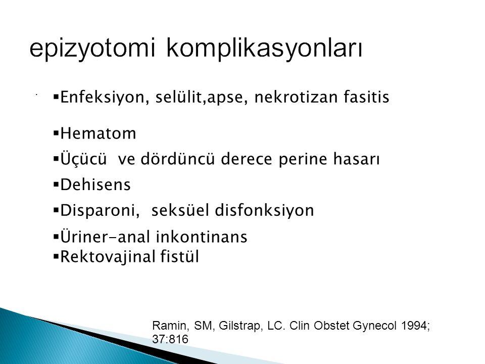  Enfeksiyon, selülit,apse, nekrotizan fasitis  Hematom  Üçücü ve dördüncü derece perine hasarı  Dehisens  Disparoni, seksüel disfonksiyon  Üriner-anal inkontinans  Rektovajinal fistül.