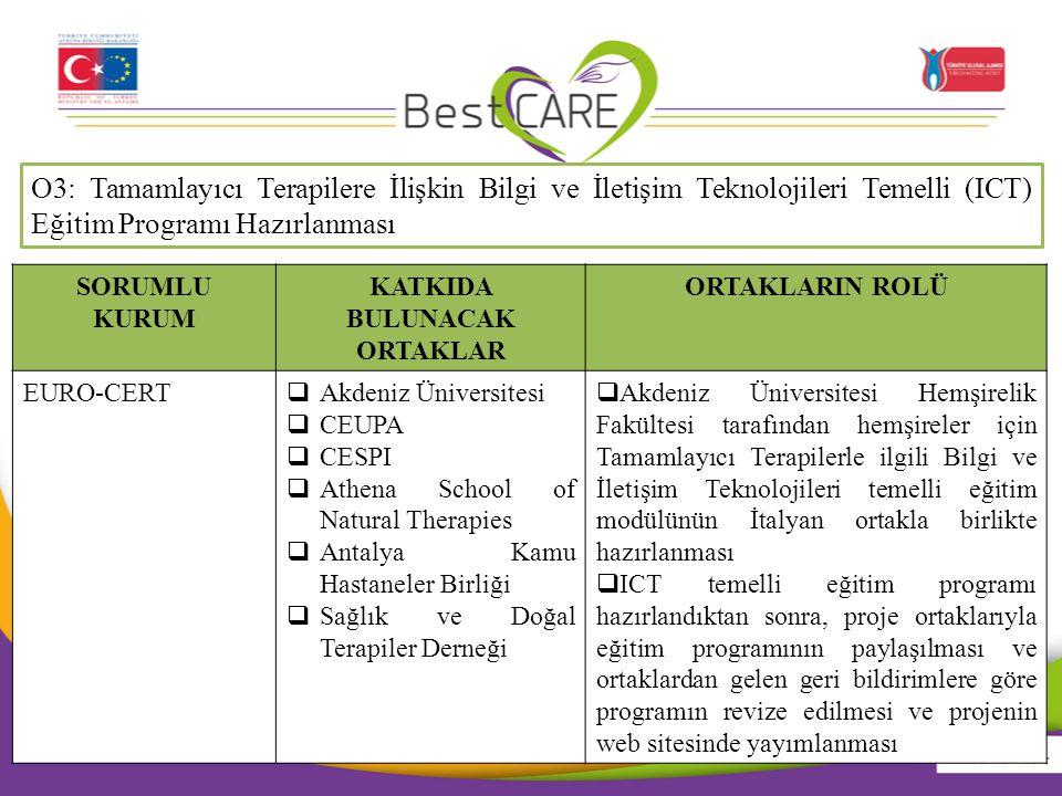 O3: Tamamlayıcı Terapilere İlişkin Bilgi ve İletişim Teknolojileri Temelli (ICT) Eğitim Programı Hazırlanması SORUMLU KURUM KATKIDA BULUNACAK ORTAKLAR