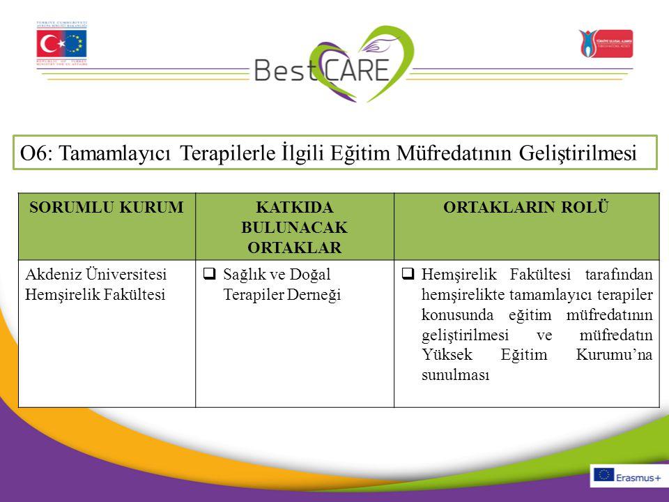 O6: Tamamlayıcı Terapilerle İlgili Eğitim Müfredatının Geliştirilmesi SORUMLU KURUMKATKIDA BULUNACAK ORTAKLAR ORTAKLARIN ROLÜ Akdeniz Üniversitesi Hem