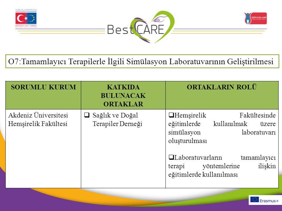 O7:Tamamlayıcı Terapilerle İlgili Simülasyon Laboratuvarının Geliştirilmesi SORUMLU KURUMKATKIDA BULUNACAK ORTAKLAR ORTAKLARIN ROLÜ Akdeniz Üniversite