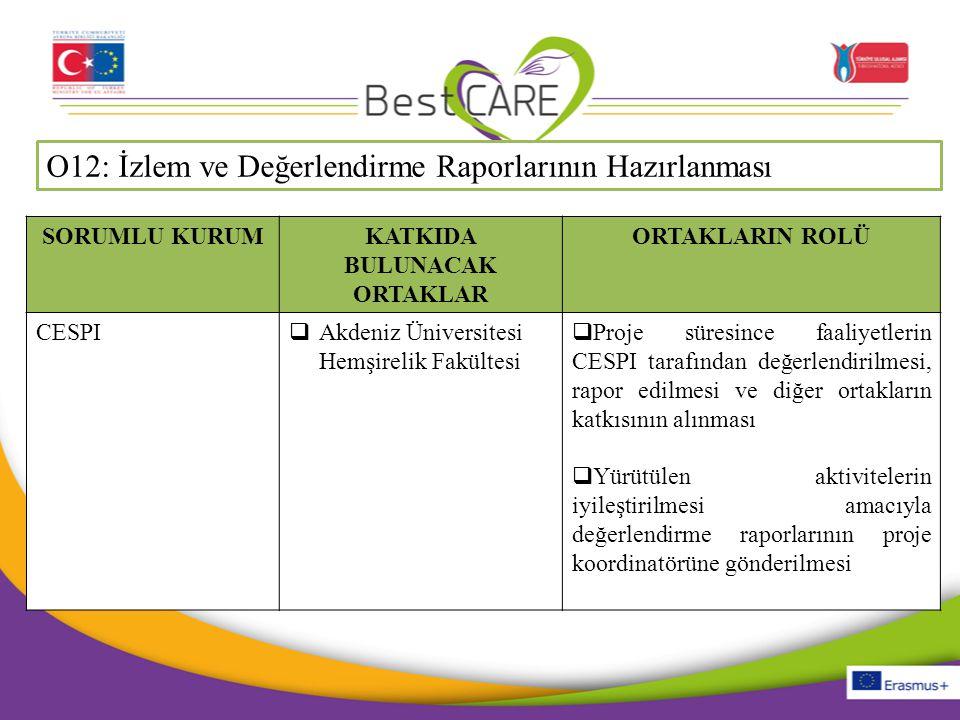 O12: İzlem ve Değerlendirme Raporlarının Hazırlanması SORUMLU KURUMKATKIDA BULUNACAK ORTAKLAR ORTAKLARIN ROLÜ CESPI  Akdeniz Üniversitesi Hemşirelik