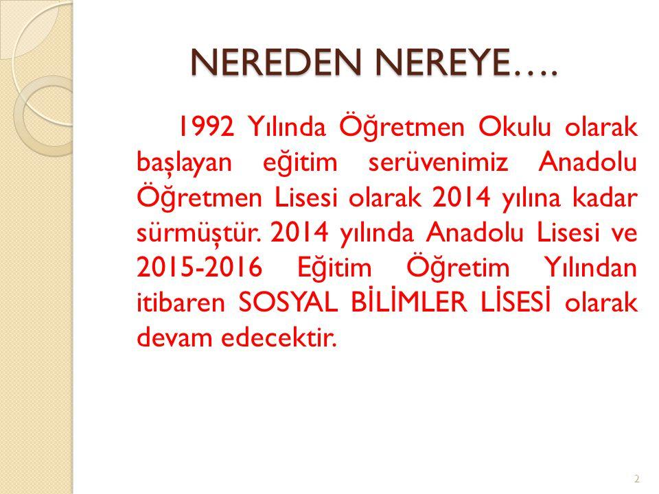 NEREDEN NEREYE…. 1992 Yılında Ö ğ retmen Okulu olarak başlayan e ğ itim serüvenimiz Anadolu Ö ğ retmen Lisesi olarak 2014 yılına kadar sürmüştür. 2014