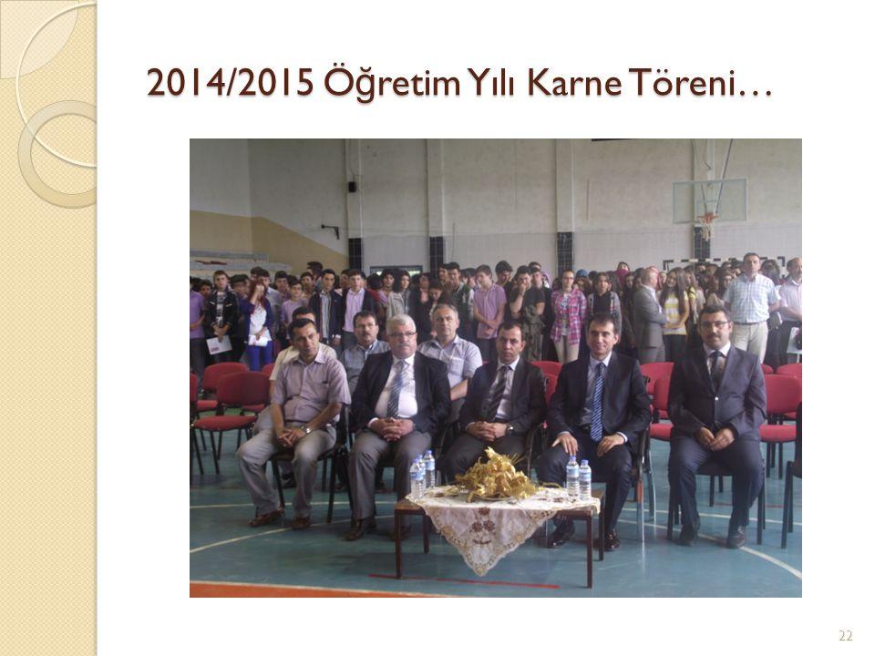 2014/2015 Ö ğ retim Yılı Karne Töreni… 22