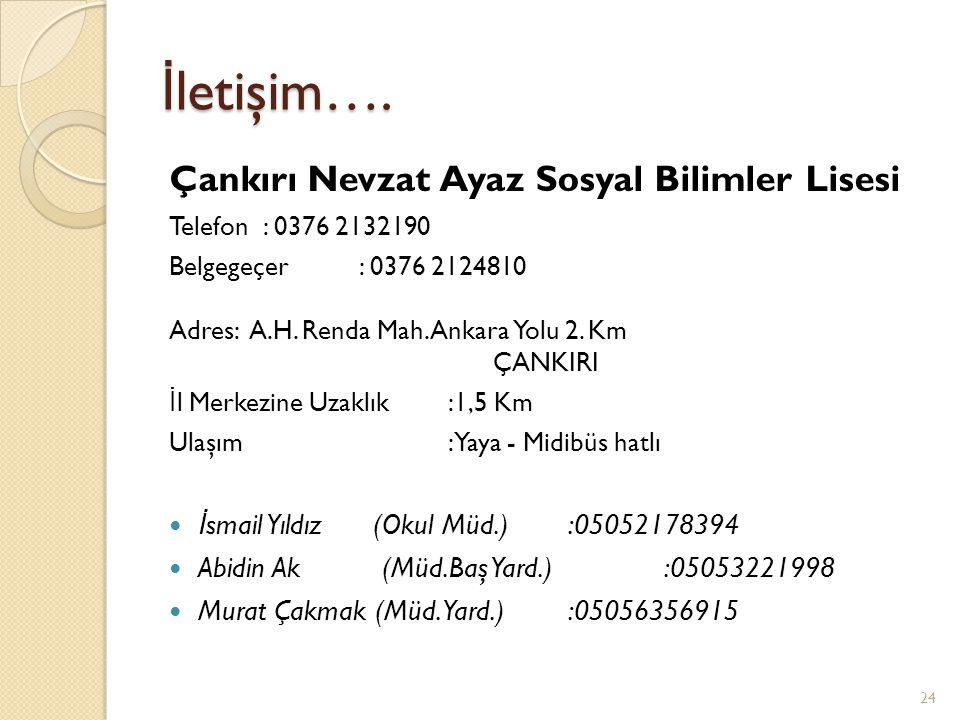 İ letişim…. Çankırı Nevzat Ayaz Sosyal Bilimler Lisesi Telefon : 0376 2132190 Belgegeçer : 0376 2124810 Adres: A.H. Renda Mah. Ankara Yolu 2. Km ÇANKI