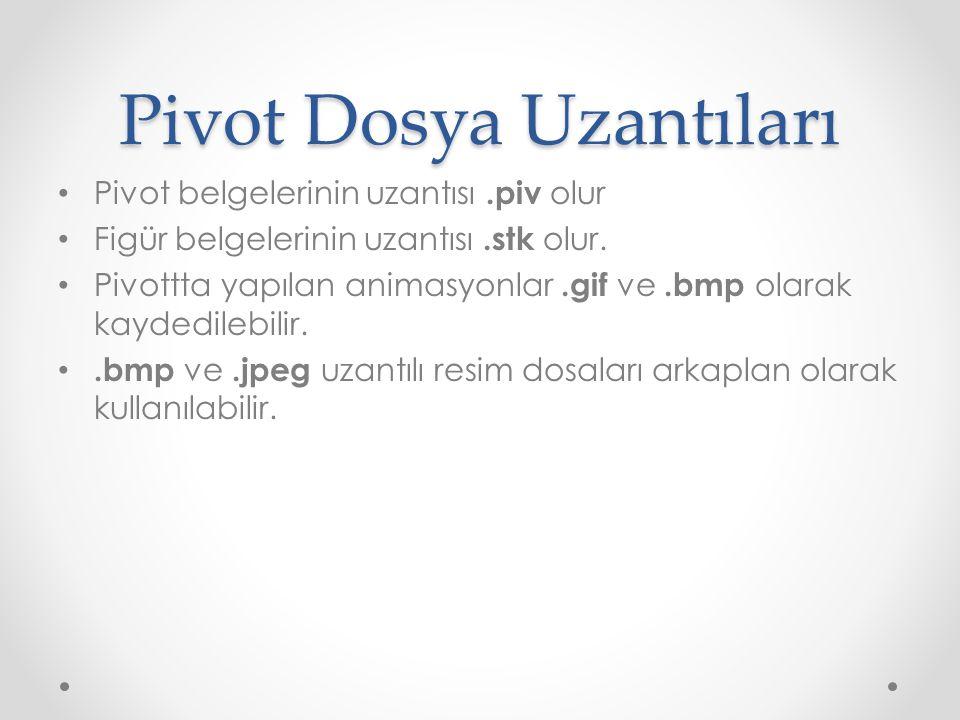 Pivot Dosya Uzantıları Pivot belgelerinin uzantısı.piv olur Figür belgelerinin uzantısı.stk olur. Pivottta yapılan animasyonlar.gif ve.bmp olarak kayd