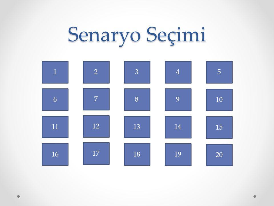 Senaryo Seçimi 15 10 5 20 7 12 2 17 1 16 6 11 14 19 9 4 13 18 8 3