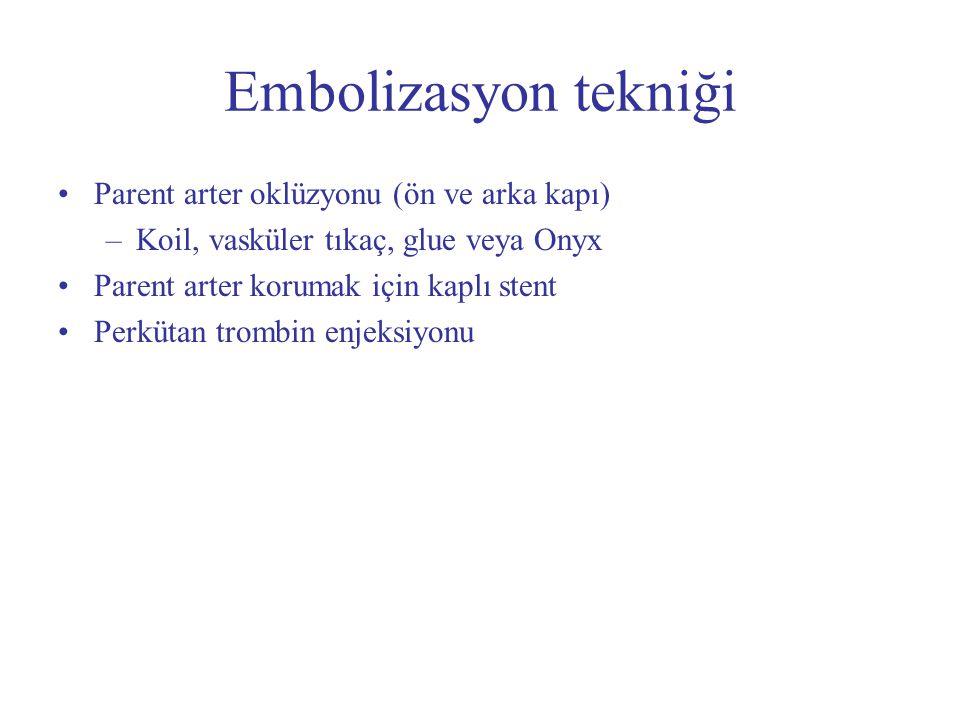 Embolizasyon tekniği Parent arter oklüzyonu (ön ve arka kapı) –Koil, vasküler tıkaç, glue veya Onyx Parent arter korumak için kaplı stent Perkütan tro