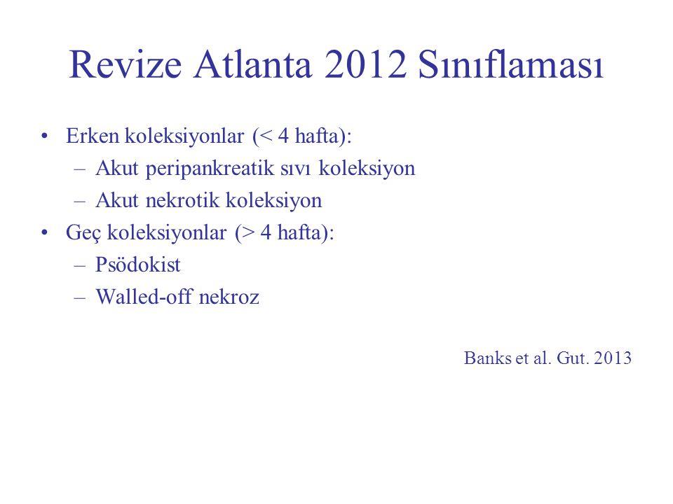 Revize Atlanta 2012 Sınıflaması Erken koleksiyonlar (< 4 hafta): –Akut peripankreatik sıvı koleksiyon –Akut nekrotik koleksiyon Geç koleksiyonlar (> 4
