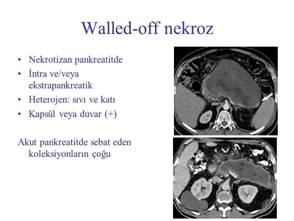 Walled-off nekroz Nekrotizan pankreatitde İntra ve/veya ekstrapankreatik Heterojen: sıvı ve katı Kapsül veya duvar (+) Akut pankreatitde sebat eden ko