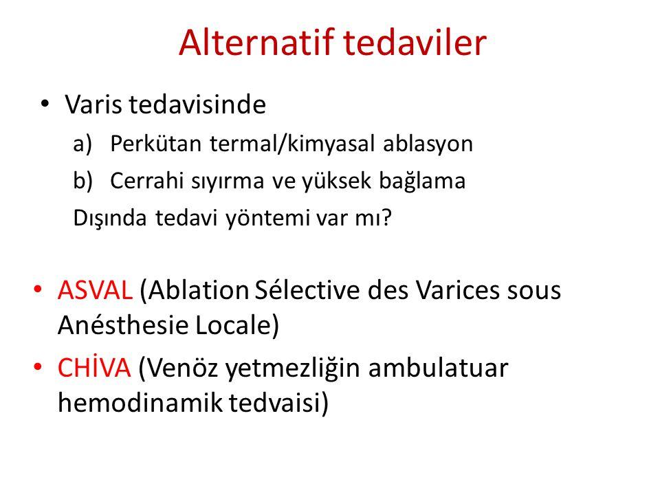 Alternatif tedaviler Varis tedavisinde a)Perkütan termal/kimyasal ablasyon b)Cerrahi sıyırma ve yüksek bağlama Dışında tedavi yöntemi var mı? ASVAL (A
