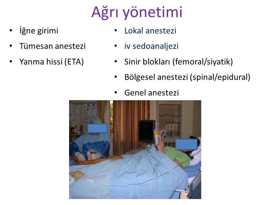 Lokal anestezi iv sedoanaljezi Sinir blokları (femoral/siyatik) Bölgesel anestezi (spinal/epidural) Genel anestezi Ağrı yönetimi İğne girimi Tümesan a