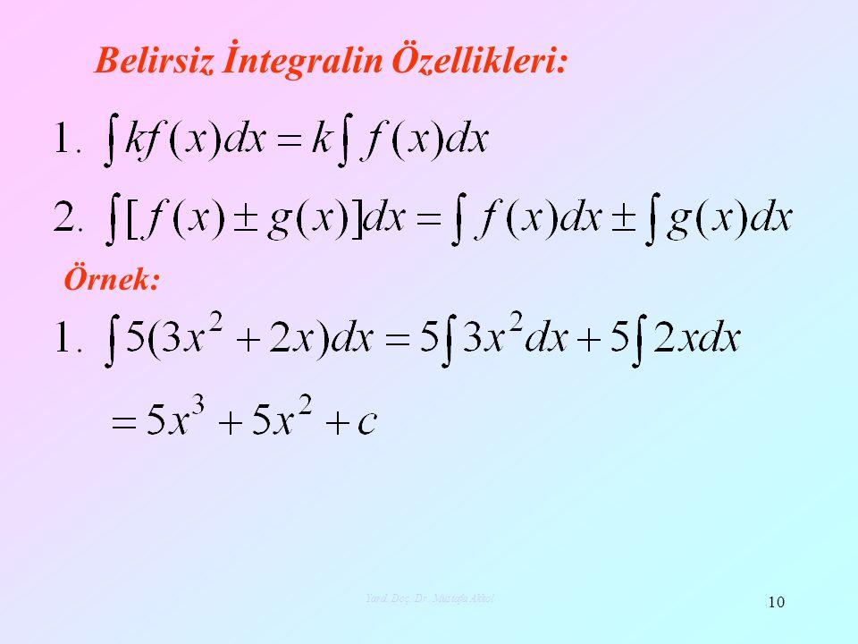 Belirsiz İntegralin Özellikleri: Örnek: 10 Yard. Doç. Dr. Mustafa Akkol