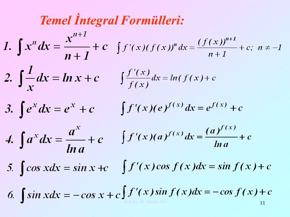 Temel İntegral Formülleri: 11 Yard. Doç. Dr. Mustafa Akkol