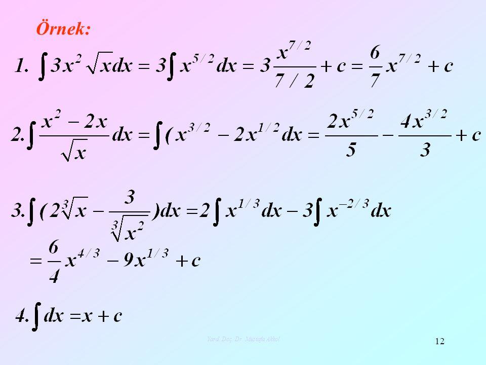 Örnek: 12 Yard. Doç. Dr. Mustafa Akkol