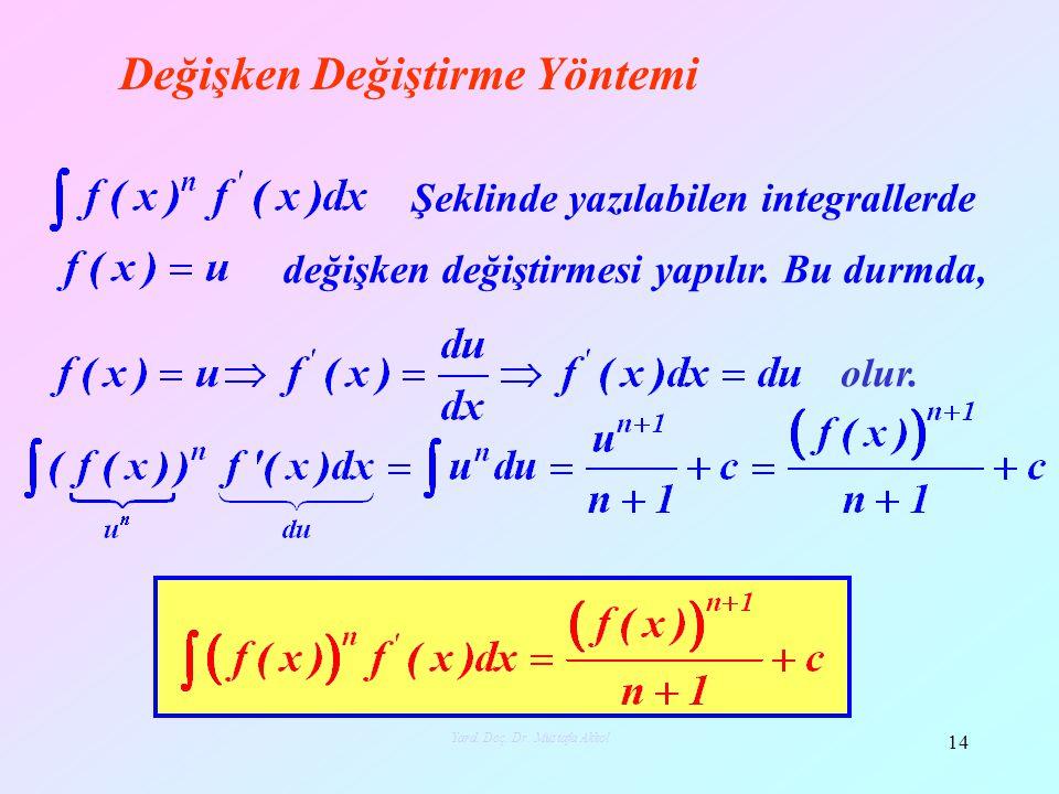 Değişken Değiştirme Yöntemi Şeklinde yazılabilen integrallerde değişken değiştirmesi yapılır. Bu durmda, olur. 14 Yard. Doç. Dr. Mustafa Akkol
