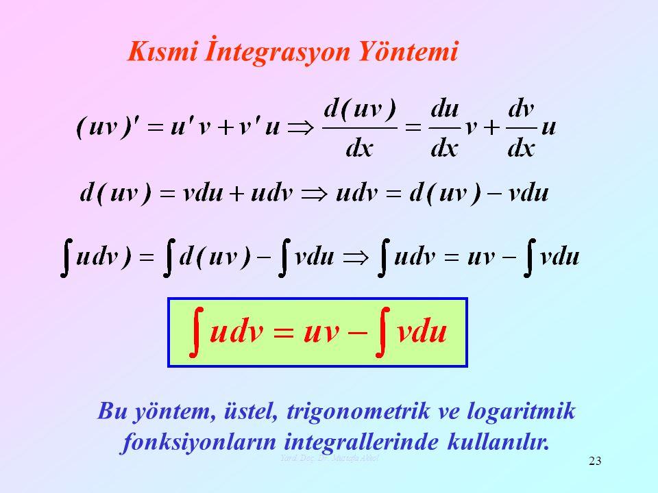 Kısmi İntegrasyon Yöntemi Bu yöntem, üstel, trigonometrik ve logaritmik fonksiyonların integrallerinde kullanılır. 23 Yard. Doç. Dr. Mustafa Akkol