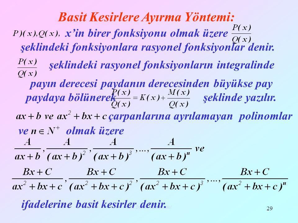 Basit Kesirlere Ayırma Yöntemi: 29 Yard. Doç. Dr. Mustafa Akkol şeklindeki fonksiyonlara rasyonel fonksiyonlar denir. x'in birer fonksiyonu olmak üzer