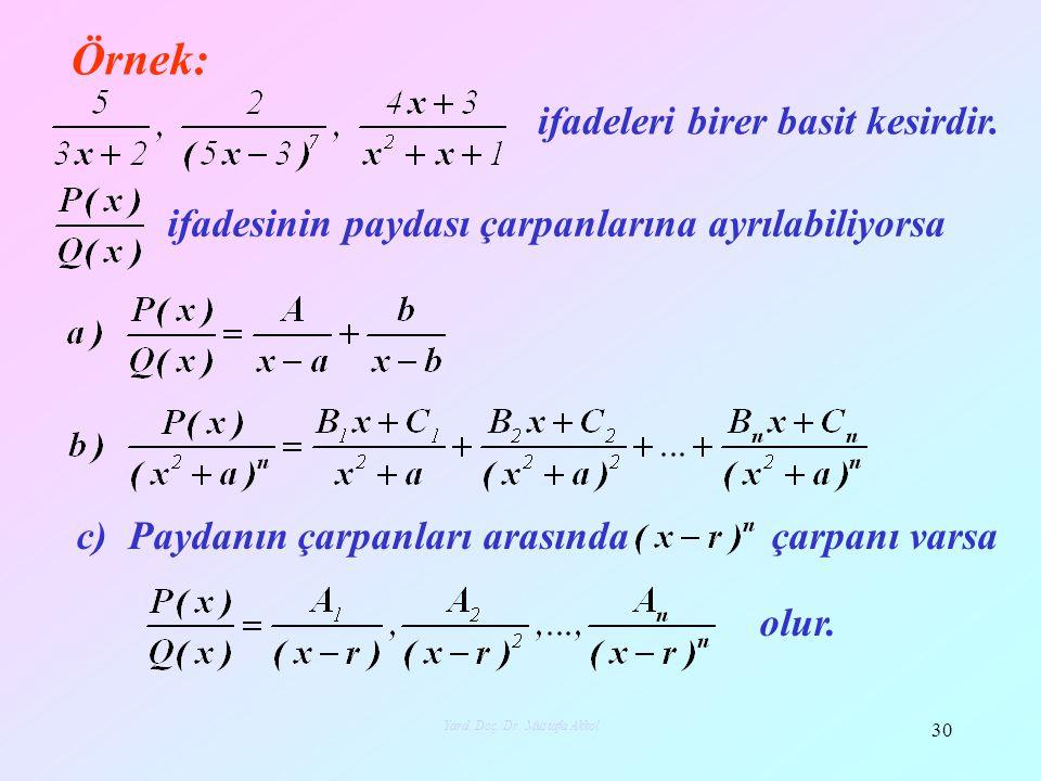Örnek: 30 Yard. Doç. Dr. Mustafa Akkol ifadeleri birer basit kesirdir. ifadesinin paydası çarpanlarına ayrılabiliyorsa c) Paydanın çarpanları arasında