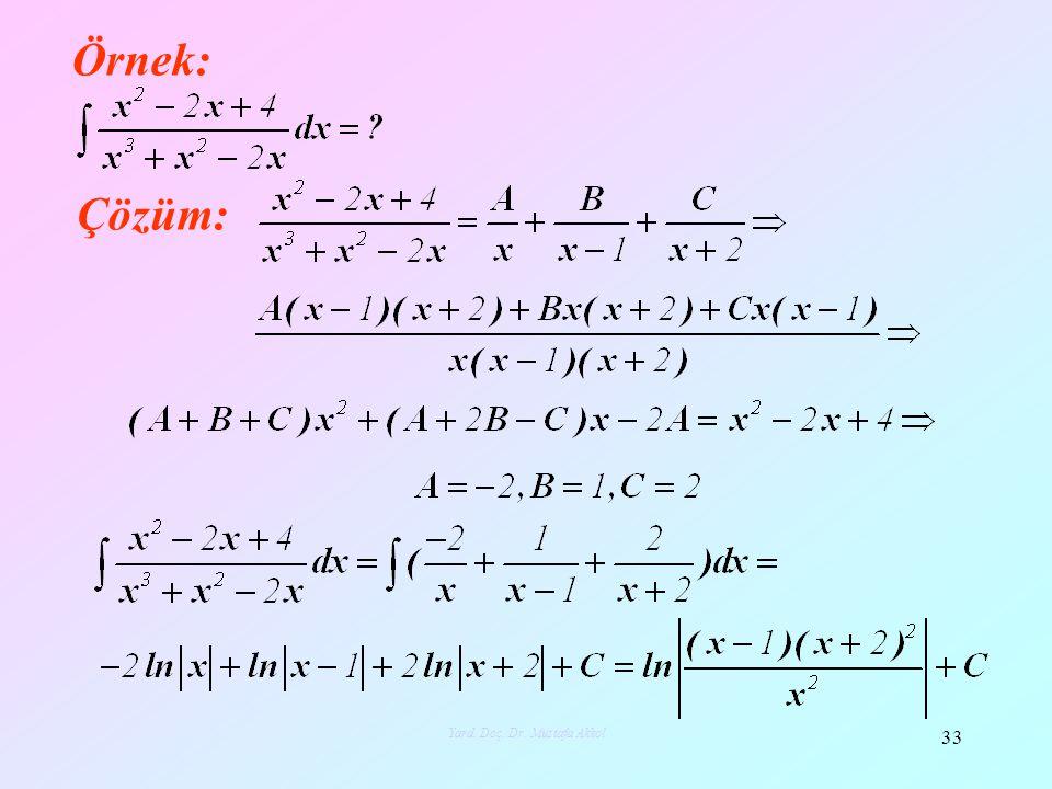 Örnek: Çözüm: 33 Yard. Doç. Dr. Mustafa Akkol