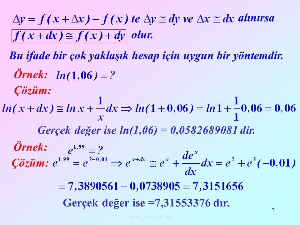 Yrd. Doç. Dr. Mustafa Akkol 7 alınırsa olur. Bu ifade bir çok yaklaşık hesap için uygun bir yöntemdir. Örnek: Çözüm: Gerçek değer ise ln(1,06) = 0,058
