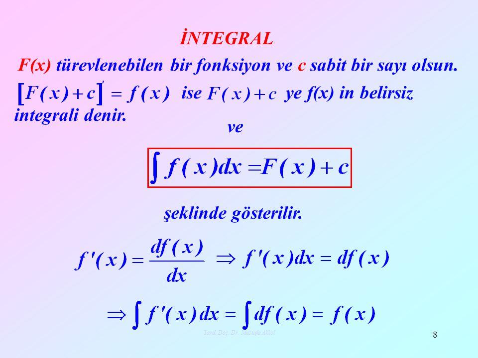 F(x) türevlenebilen bir fonksiyon ve c sabit bir sayı olsun. ise ye f(x) in belirsiz integrali denir. ve şeklinde gösterilir. 8 Yard. Doç. Dr. Mustafa