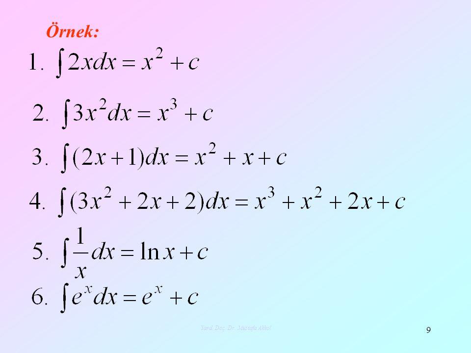 Örnek: 9 Yard. Doç. Dr. Mustafa Akkol