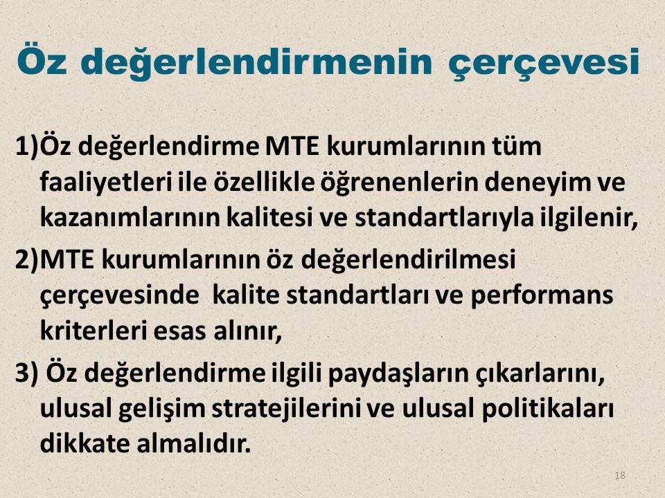 Öz değerlendirmenin çerçevesi 1)Öz değerlendirme MTE kurumlarının tüm faaliyetleri ile özellikle öğrenenlerin deneyim ve kazanımlarının kalitesi ve st