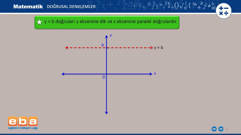 4 y = b doğruları y eksenine dik ve x eksenine paralel doğrulardır.