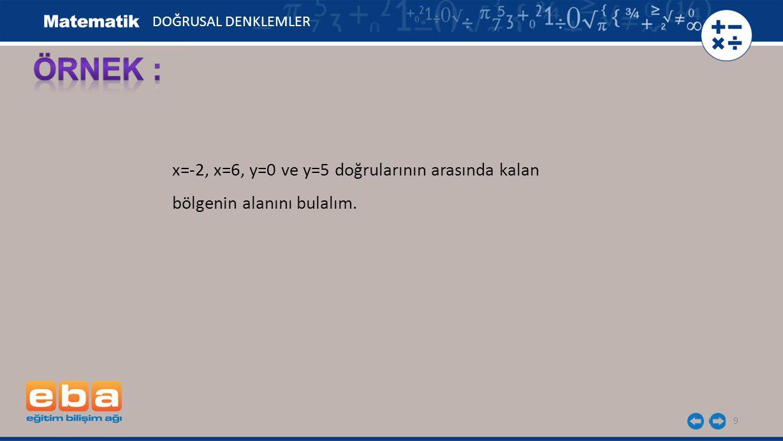 9 x=-2, x=6, y=0 ve y=5 doğrularının arasında kalan bölgenin alanını bulalım. DOĞRUSAL DENKLEMLER