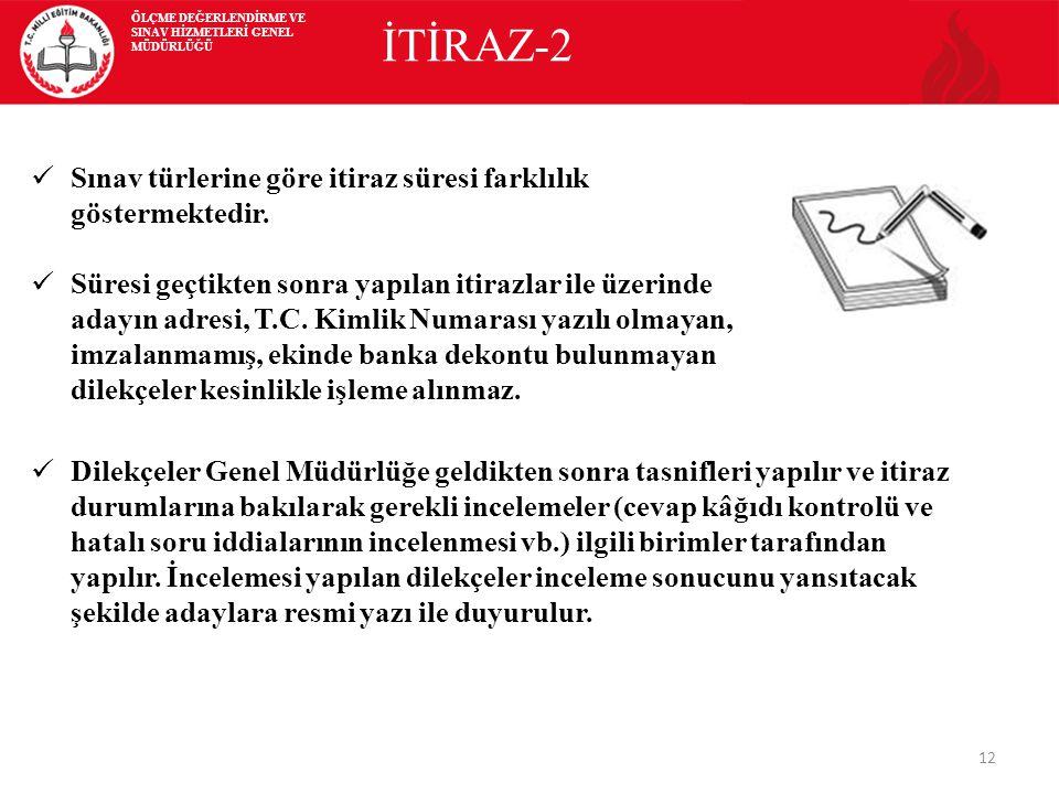 12 İTİRAZ-2 Sınav türlerine göre itiraz süresi farklılık göstermektedir.