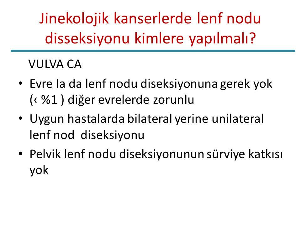 Jinekolojik kanserlerde lenf nodu disseksiyonu kimlere yapılmalı? VULVA CA Evre Ia da lenf nodu diseksiyonuna gerek yok (‹ %1 ) diğer evrelerde zorunl