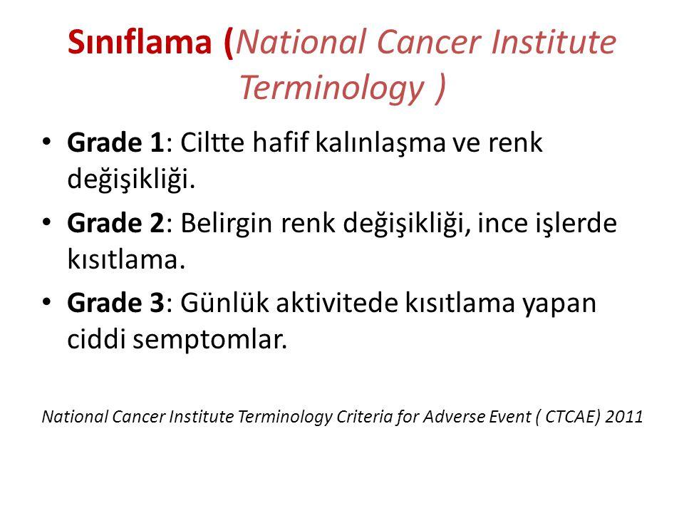 Sınıflama (National Cancer Institute Terminology ) Grade 1: Ciltte hafif kalınlaşma ve renk değişikliği. Grade 2: Belirgin renk değişikliği, ince işle