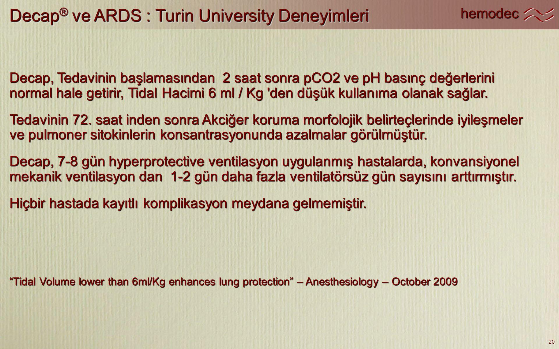hemodec 20 Decap ® ve ARDS : Turin University Deneyimleri Decap, Tedavinin başlamasından 2 saat sonra pCO2 ve pH basınç değerlerini normal hale getiri