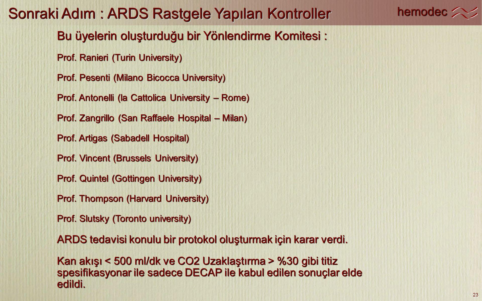hemodec 23 Sonraki Adım : ARDS Rastgele Yapılan Kontroller Bu üyelerin oluşturduğu bir Yönlendirme Komitesi : Prof. Ranieri (Turin University) Prof. P