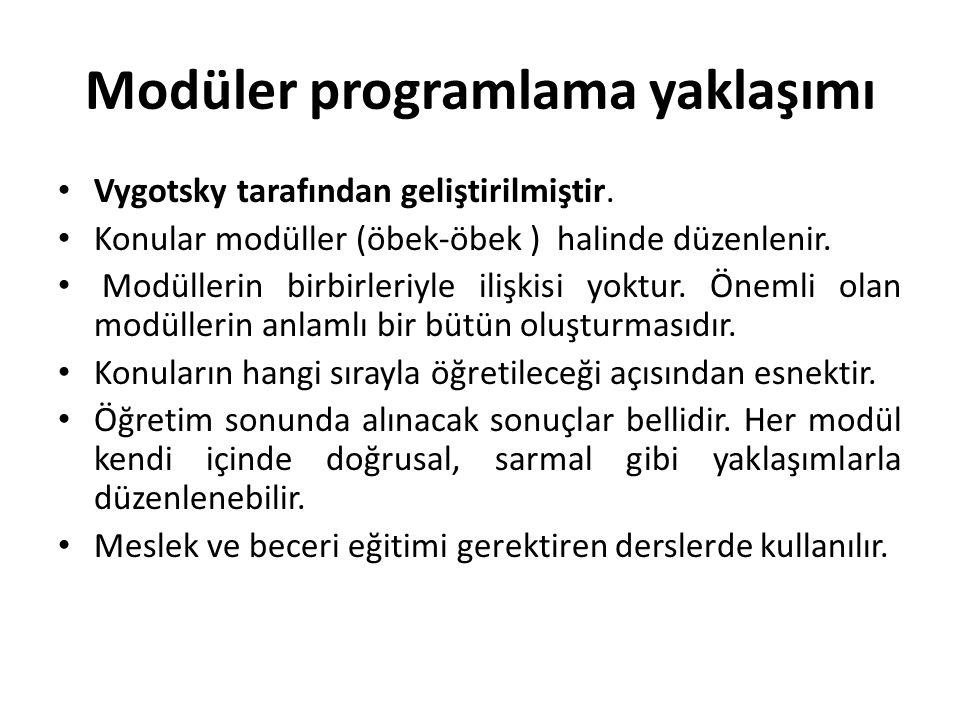 Modüler programlama yaklaşımı Vygotsky tarafından geliştirilmiştir. Konular modüller (öbek-öbek ) halinde düzenlenir. Modüllerin birbirleriyle ilişkis