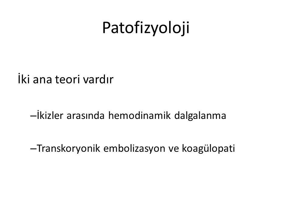 Patofizyoloji İki ana teori vardır – İkizler arasında hemodinamik dalgalanma – Transkoryonik embolizasyon ve koagülopati