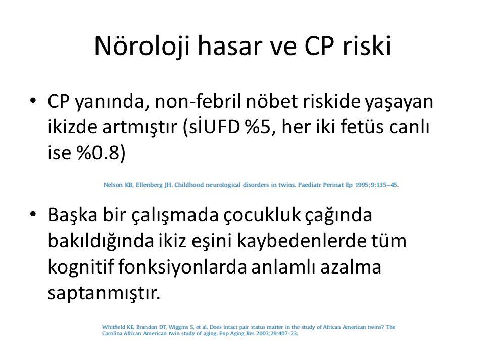 Nöroloji hasar ve CP riski CP yanında, non-febril nöbet riskide yaşayan ikizde artmıştır (sİUFD %5, her iki fetüs canlı ise %0.8) Başka bir çalışmada