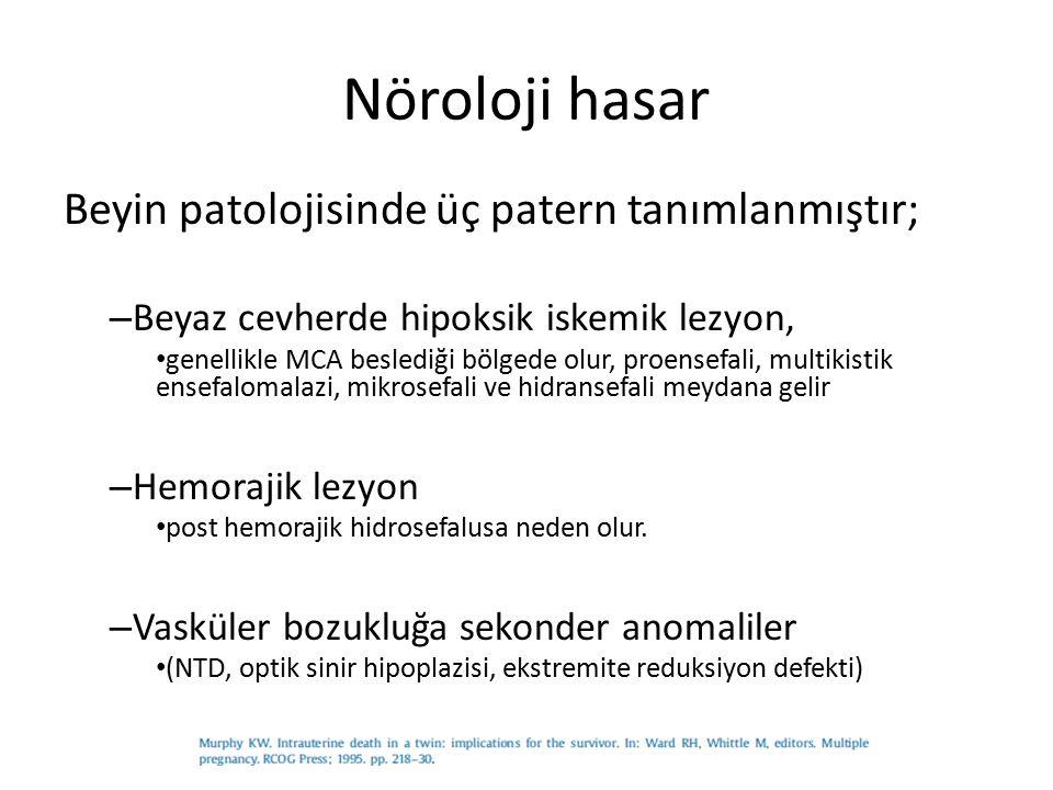 Nöroloji hasar Beyin patolojisinde üç patern tanımlanmıştır; – Beyaz cevherde hipoksik iskemik lezyon, genellikle MCA beslediği bölgede olur, proensef