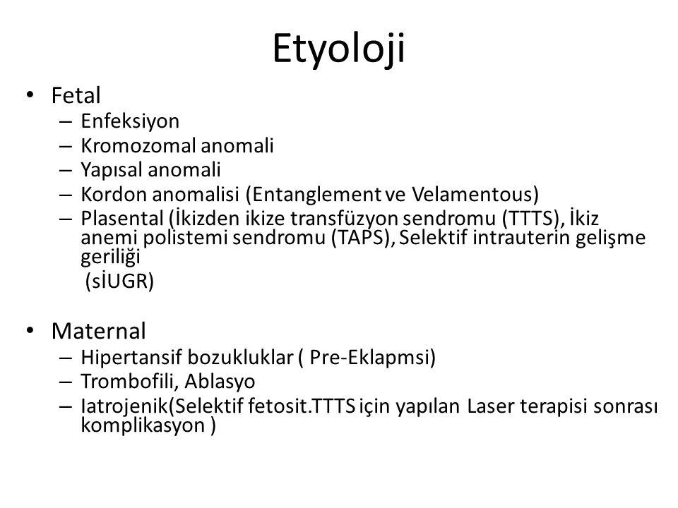 Etyoloji Fetal – Enfeksiyon – Kromozomal anomali – Yapısal anomali – Kordon anomalisi (Entanglement ve Velamentous) – Plasental (İkizden ikize transfü