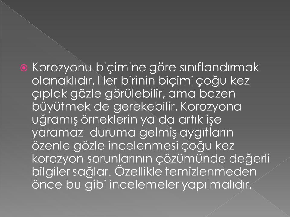 GENEL (UNİFORM) KOROZYON GALVANİK/ METAL ÇİFTİ KOROZYONU ARALIK (CREVİCE) KOROZYONU ÇUKURCUK (PİTTİNG) KOROZYONU TANELER ARASI (İNTERGRANULAR) KOROZYON SEÇİMLİ KOROZYON (SELECTİVE LEACHİNG /PARTNG) EREZYON KOROZYONU GERİLMELİ KOROZYON ÇATLAMASI (STRESS CORROSİON CRACKİNG) BAŞLICA KOROZYON ÇEŞİTLERİ