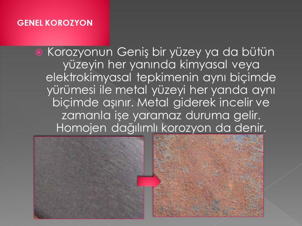  Galvanik korozyon atmosferde de olur korozyonun derecesi geniş çapta havadaki nem miktarına bağlıdır.