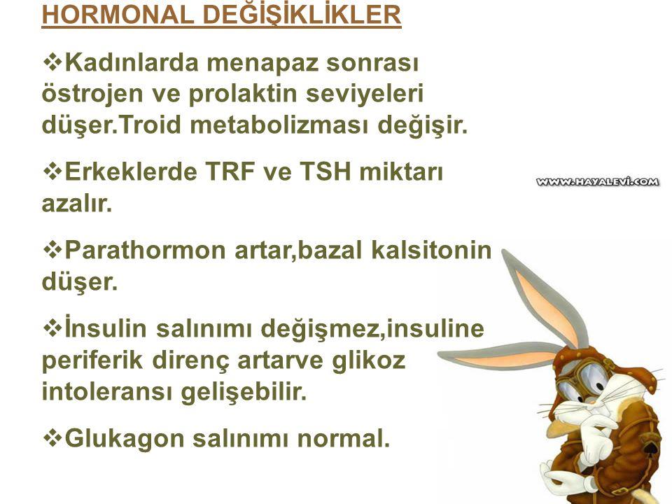 HORMONAL DEĞİŞİKLİKLER  Kadınlarda menapaz sonrası östrojen ve prolaktin seviyeleri düşer.Troid metabolizması değişir.