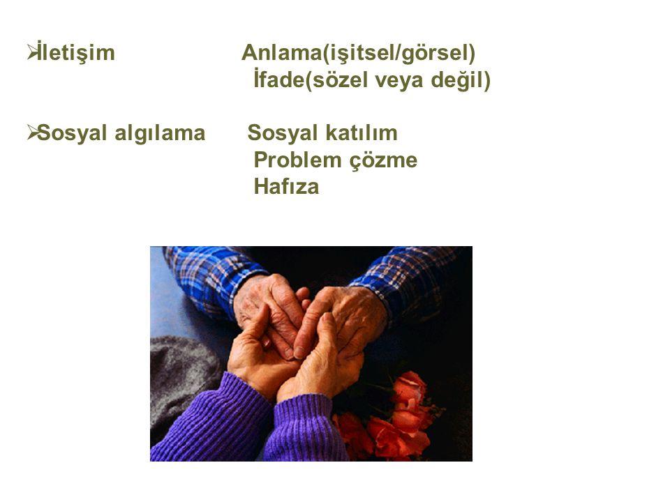  İletişim Anlama(işitsel/görsel) İfade(sözel veya değil)  Sosyal algılama Sosyal katılım Problem çözme Hafıza