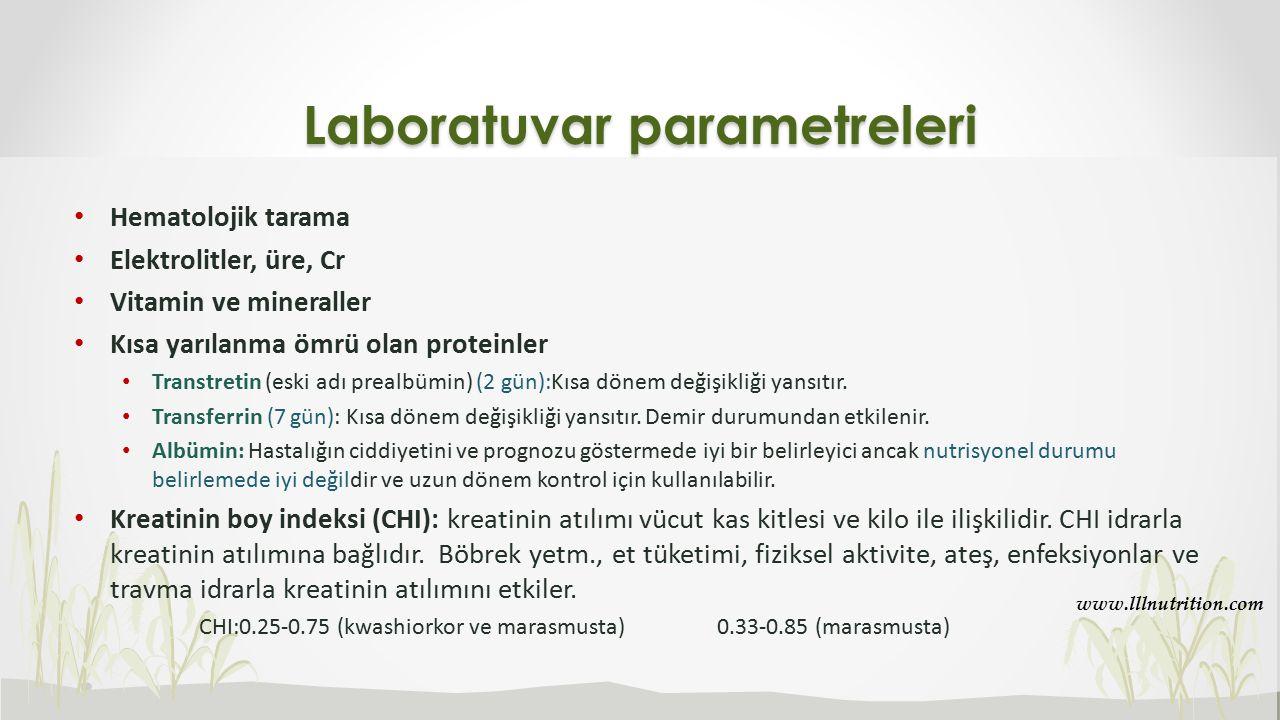 Laboratuvar parametreleri Hematolojik tarama Elektrolitler, üre, Cr Vitamin ve mineraller Kısa yarılanma ömrü olan proteinler Transtretin (eski adı pr
