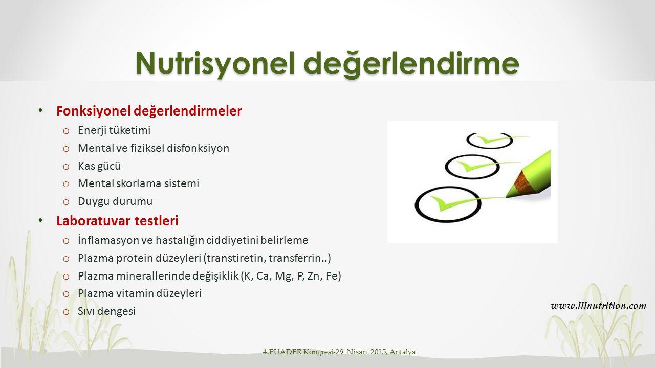Malnutrisyon derecesiYaşa göre ağırlık (Wasting)* Yaşa göre boy (Stunting)** Boya göre ağırlık** 0, Normal>90>95>90 1, Hafif75-9090-9581-90 2, Orta60-7485-8970-80 3, Ağır<60<85<70 * Gomez ** Waterlow Malnütrisyonun antropometrik sınıflaması-2