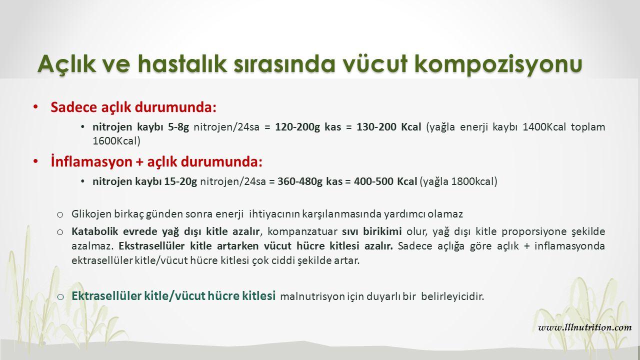 Sadece açlık durumunda: nitrojen kaybı 5-8g nitrojen/24sa = 120-200g kas = 130-200 Kcal (yağla enerji kaybı 1400Kcal toplam 1600Kcal) İnflamasyon + aç