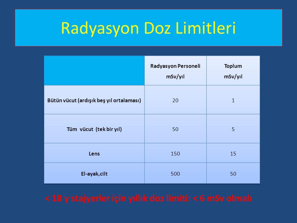 Radyasyon Doz Limitleri < 18 y stajyerler için yıllık doz limiti: < 6 mSv olmalı
